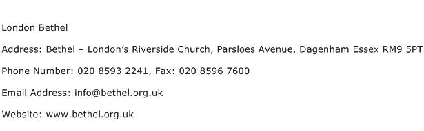 London Bethel Address Contact Number