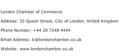 London Chamber of Commerce Address Contact Number