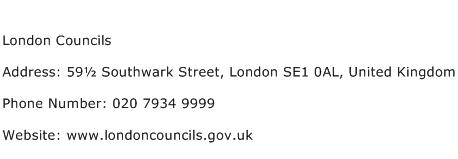 London Councils Address Contact Number