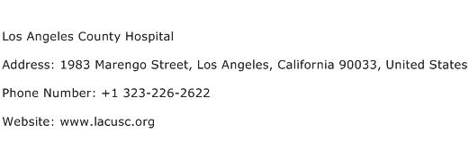 Los Angeles County Hospital Address Contact Number