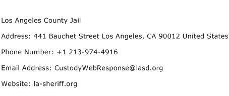 Los Angeles County Jail Address Contact Number