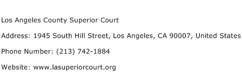 Los Angeles County Superior Court Address Contact Number