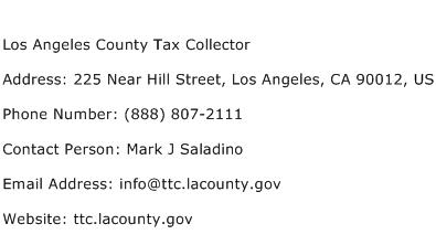 Los Angeles County Tax Collector Address Contact Number