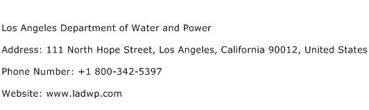 Los Angeles Department of Water and Power Address Contact Number