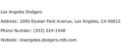 Los Angeles Dodgers Address Contact Number