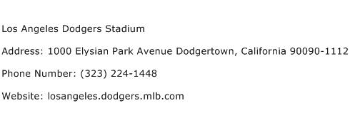 Los Angeles Dodgers Stadium Address Contact Number