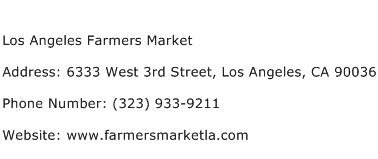 Los Angeles Farmers Market Address Contact Number