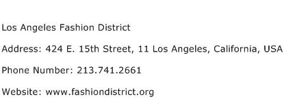 Los Angeles Fashion District Address Contact Number