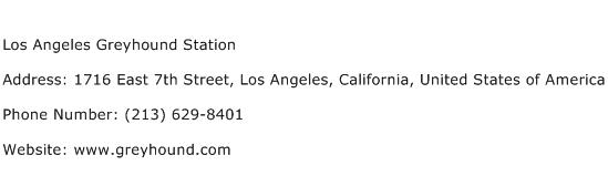 Los Angeles Greyhound Station Address Contact Number