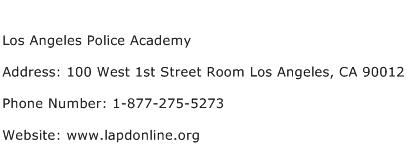 Los Angeles Police Academy Address Contact Number