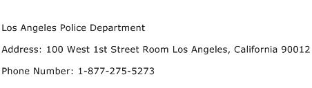 Los Angeles Police Department Address Contact Number