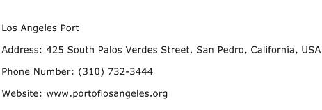 Los Angeles Port Address Contact Number