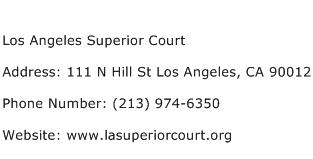 Los Angeles Superior Court Address Contact Number