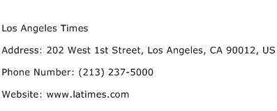 Los Angeles Times Address Contact Number