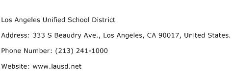 Los Angeles Unified School District Address Contact Number