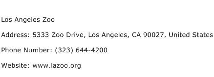 Los Angeles Zoo Address Contact Number