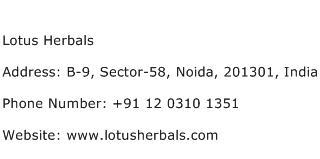 Lotus Herbals Address Contact Number