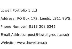 Lowell Portfolio 1 Ltd Address Contact Number