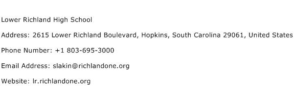 Lower Richland High School Address Contact Number
