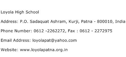 Loyola High School Address Contact Number