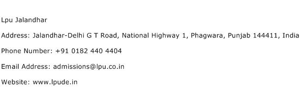 Lpu Jalandhar Address Contact Number