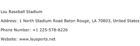 Lsu Baseball Stadium Address Contact Number