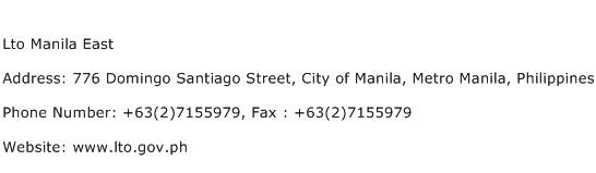 Lto Manila East Address Contact Number