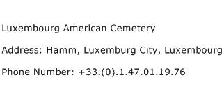 Luxembourg American Cemetery Address Contact Number