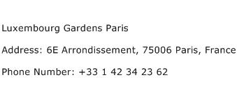 Luxembourg Gardens Paris Address Contact Number