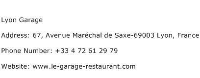 Lyon Garage Address Contact Number