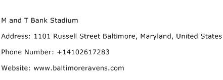 M and T Bank Stadium Address Contact Number