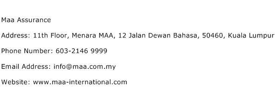 Maa Assurance Address Contact Number