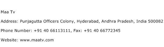 Maa Tv Address Contact Number