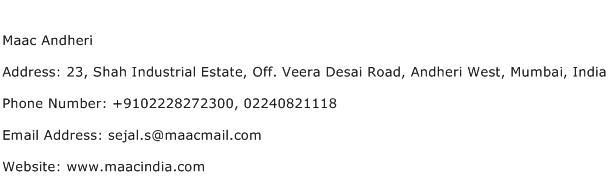 Maac Andheri Address Contact Number