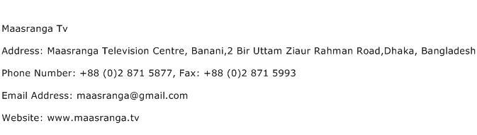 Maasranga Tv Address Contact Number
