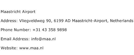 Maastricht Airport Address Contact Number