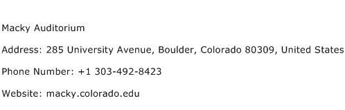 Macky Auditorium Address Contact Number
