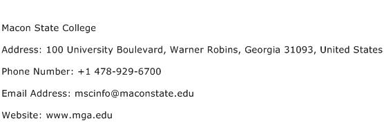 Macon State College Address Contact Number