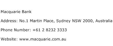 Macquarie Bank Address Contact Number