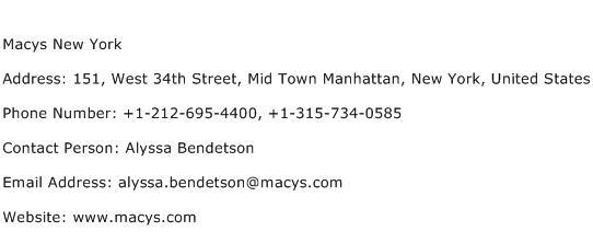Macys New York Address Contact Number