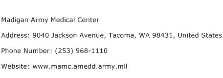 Madigan Army Medical Center Address Contact Number