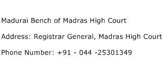 Madurai Bench of Madras High Court Address Contact Number