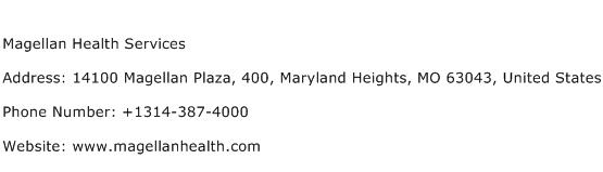 Magellan Health Services Address Contact Number