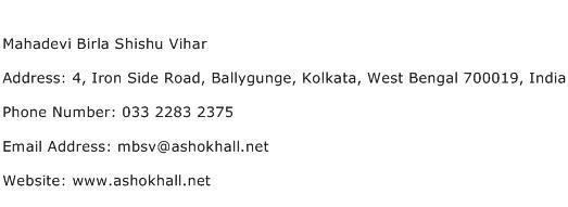 Mahadevi Birla Shishu Vihar Address Contact Number
