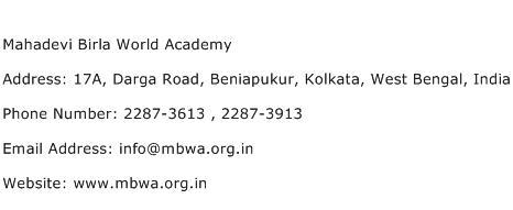 Mahadevi Birla World Academy Address Contact Number