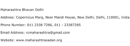 Maharashtra Bhavan Delhi Address Contact Number