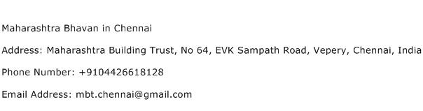 Maharashtra Bhavan in Chennai Address Contact Number