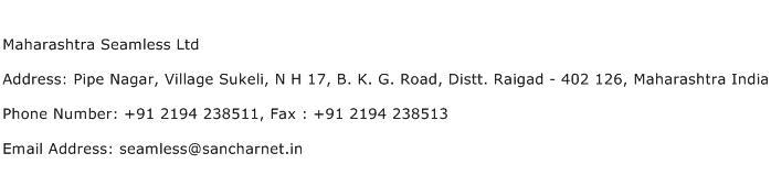 Maharashtra Seamless Ltd Address Contact Number