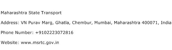 Maharashtra State Transport Address Contact Number
