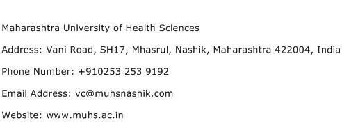 Maharashtra University of Health Sciences Address Contact Number